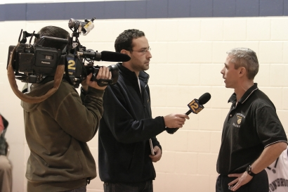 Coach Hickey talks to News 12 after the win
