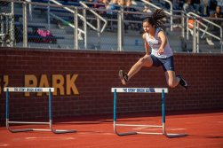 Barbacena wins the 100 hurdles (PC: Bruce Jeffrey)