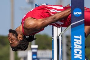 Etienne clears the bar at the East Prelims (PC: Indiana Athletics)