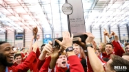 Etienne and the Hoosiers hoist the trophy